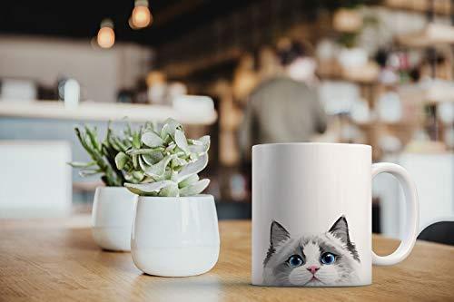 MUGBREW White Silver Point Ragdoll Cat Ceramic Coffee Mug Tea Cup, 11 OZ