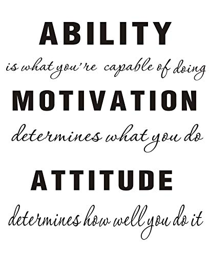 LUCKKYY Large Ability is What You're Capable of Doing Motivation Attitude - Inspirational Family Words Quote Vinyl Family Wall Sticker Wall Decal Family Room Art Decoration (A-Black)