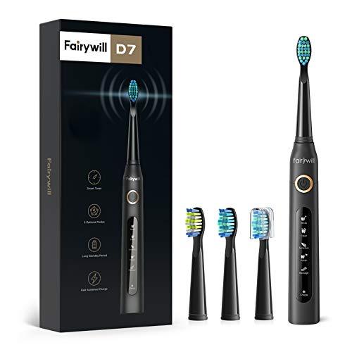 Fairywill Brosse à Dents Électrique, Brosse Dent Sonique Modèle D7, Micro-brosses 40000/VPM Technologie Ultrasonique avec 5 Modes Optionnels et 3 Brossettes Noir