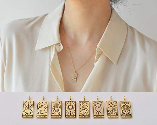 Tarot Card Pendant Necklace with Initial Coin Tag/Fortune...