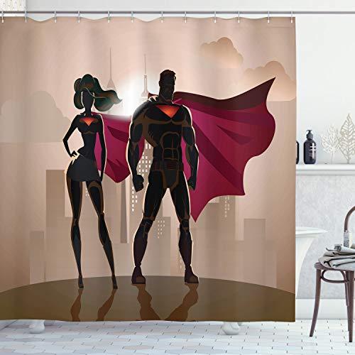 ABAKUHAUS superhéroe Cortina de Baño, Pareja Caliente Hero City, Material Resistente al Agua Durable Estampa Digital, 175 x 200 cm, Beige Marrón Magenta