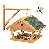Relaxdays Casetta per Uccellini, Mangiatoia in Legno Dispenser di Mangime da Esterno, Decorazione da Giardino, Naturale