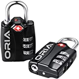 Oria TSA Cadenas à Combinaison 3 Chiffres, Serrure Douanière, Cadenas avec Code, Lock de Voyage...