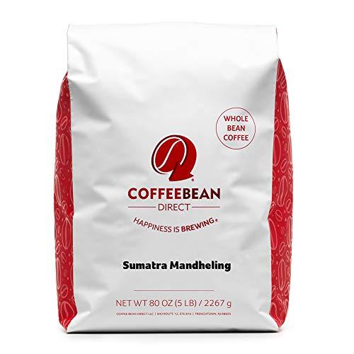 Coffee Bean Direct Sumatra Mandheling, Whole Bean Coffee, 5-Pound Bag