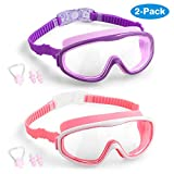 COOLOO Kids Swim Goggles, 2-Pack Wide Vision Swimming Glasses for Children and Early Teens from 4 to 15 Years Old, Wide Vision, Anti-Fog, Waterproof, Protection (Purple+Pink)