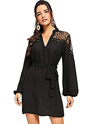 Material: 100% Polyester, Fabric has no stretch. Feature:V Neck, Stand Collar, Long Sleeve, Shift, Short, Sheer, Contrast Lace, Belted, Tunic, Bishop Sleeve, Belted, Mesh Insert. Occasion: Great for daily wear, leisure time, office, party, wedding, c...