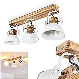 Lámpara de techo Orny, de metal/madera, color blanco/marrón, 3 focos, con focos ajustables, 3...