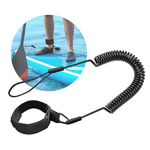 Tusenpy 10 Füße Surfboard Leash Surf Leash Wasserski Fußseil, Stand Up Paddle Board Knöchelriemen Sup Board Leash Aufgerollten TPU Sicherheit für Surfen (Schwarz)