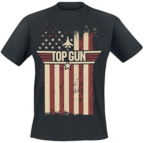 Top Gun Flag Uomo T-Shirt Nero XXL 100% Cotone Regular