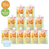 Papablic Reusable Baby Food Pouch, 12 Packs 7oz Baby Food Storage Pouch, Double Zipper Pouches & 1 Easy-Filled Funnel - Freezer Safe, Washable & Writable