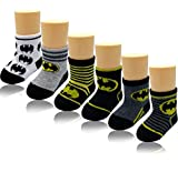 Baby Marvel DC Comics Superheroes Batman Character Ankle Protect Colorful Socks 6 pairs Set, Size 0-6M, Shoe Size 1-2 for Infant Babies Boy and Girls