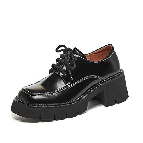 ANNIESHOE Blucher Mujer Cuero Cordones Oxford Derby Zapatos Tacon Plataforma Primavera Otoño Negro 36CN 36EU 23cm