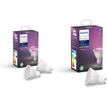 Philips Hue 3 Ampoules LED Connectées White & Color GU10 Compatible Bluetooth, Fonctionne avec Alexa