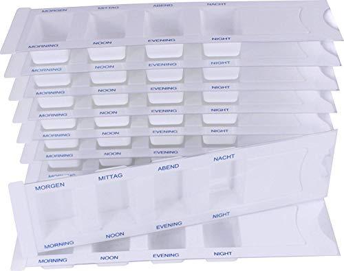 10 Medikamentendispenser für 1 Tag m. 4 Fächer, Pillenbox, Tablettenbox, Medikamentenbox