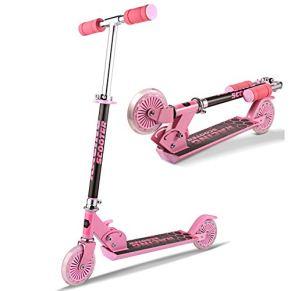 Eloklem - Patinete infantil con ruedas LED y ruedas con 3 niveles de altura ajustable a partir de 3 años