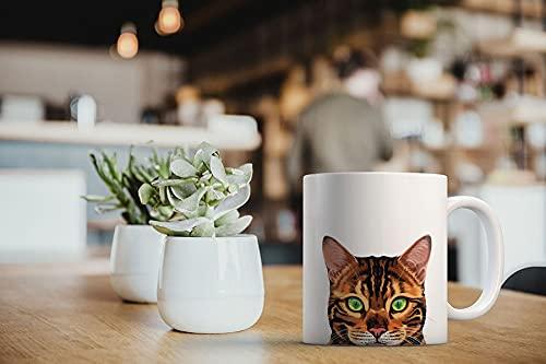 MUGBREW Spotted Brown Bengal Cat Ceramic Coffee Mug Tea Cup, 11 OZ