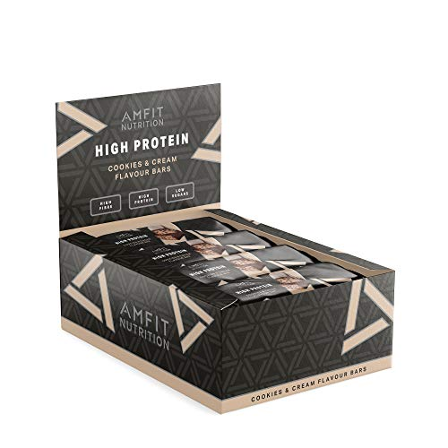 Marca Amazon - Amfit Nutrition Barra de proteína baja en azúcar (19,6gr proteina; 1,4gr azúcar), Cookies & Cream, Pack de 12 (12x60g)