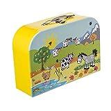 Bieco Kinderkoffer mit süßem Tiermotiv, Koffer aus Pappe, Metall-Tragegriff, Köfferchen für Kinder Equipaje Infantil, 30 cm, 6 Liters, Amarillo (Gelb)
