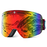 HUBO SPORTS Ski Goggles–Snowboard Ski Goggles Skiing Goggles with Anti Fog, Anti Glare, Wind Resistance for Men, Women and Unisex (BRed