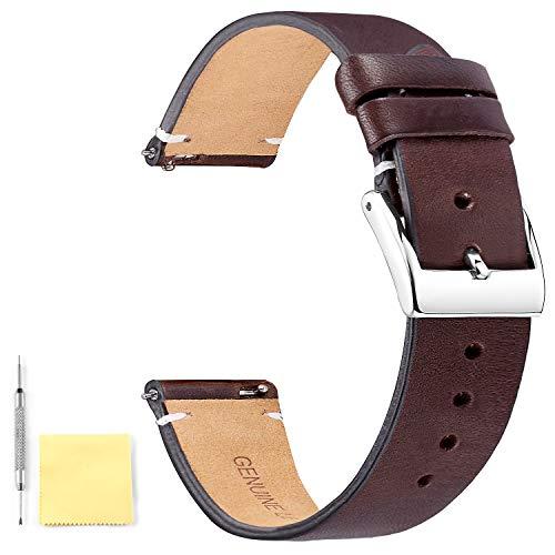BINLUN Leder Uhrenarmband Schnellverschluss Lederarmband Uhrenband mit Edelstahl Silber Schnalle für Herren Damen Ersatzarmband 12mm 14mm 16mm 18mm 20mm 22mm 24mm