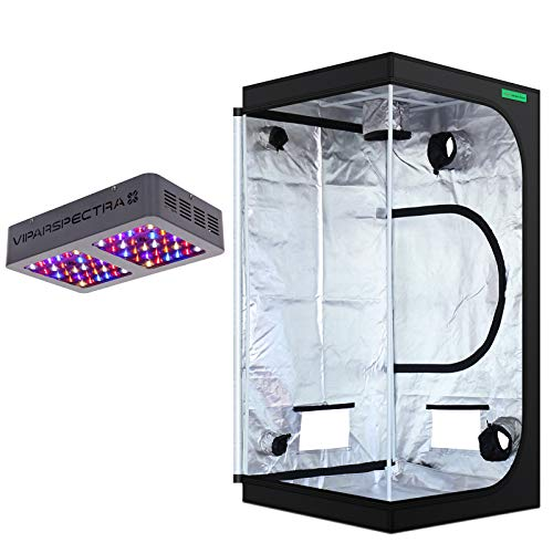 VIPARSPECTRA 36x36x72 Mylar Hydroponic Grow Tent + UL Certified 300W LED Grow Light Complete Kit for Indoor Plant Growing