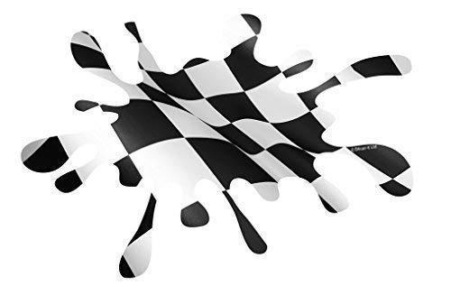 Sticar-It Ltd Negro Blanco Bandera a Cuadros Salpicadura Jdm Estilo Euro Adhesivo Vinilo para Auto 150x100mm approx
