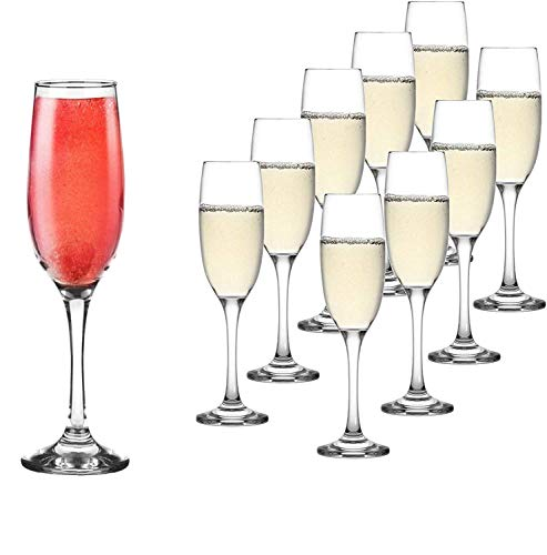 Set of 10 Classic Flute Champagne Glasses (7 Ounce) - Toasting Sparkling Wine / Wedding Flutes