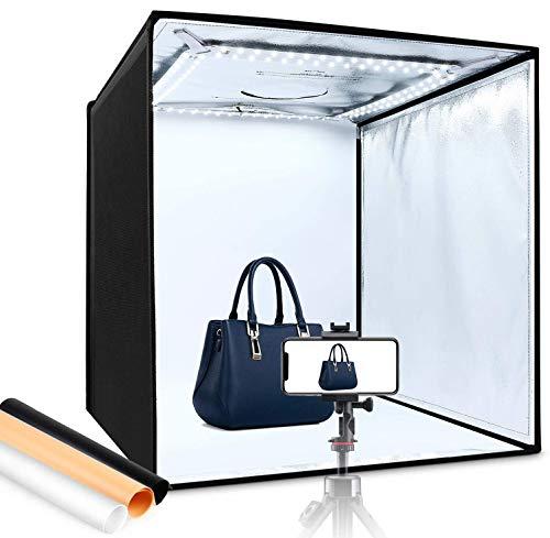 【2020最新版】撮影ボックス 60cm 簡易スタジオ Amzdeal 折り畳み式 LEDライト 5500LM 6500K 高輝度 4色背...