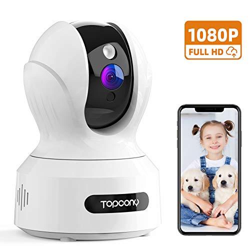 Topcony Telecamera Sorveglianza WIFI 1080P, Videocamera Sicurezza IP Interno con Visione Notturna, Rilevazione di Movimento Innovativo, Audio Bidirezionale, Supporto Alexa