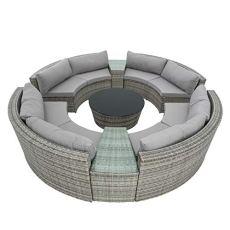 ESTEXO Poly-Rattan Sitzgruppe Garten-Möbel Set rund Gartensitzgruppe Outdoor Sonneninsel Garnitur Garten-Lounge 300 x 300 cm inkl. Tisch, Grau