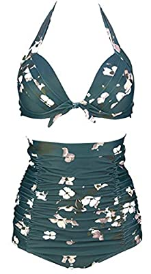 Sizes(recommend):Small:US2/US4 Medium:US6 Large:US8 X-Large:US10 XX-Large:US12 XXX-Large:US14 XXXXL-Large:US16/US18 Hand wash cold, line dry;Polyester Spandex Breathable Swimsuit Fabric Pattern:1950s Bow-style Vintage Ruching Full Coverage High waist...