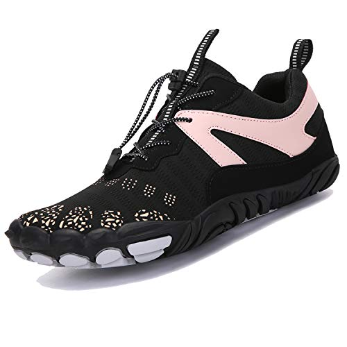 Unitysow Unisex Minimalist Wide Toe Trail Running Shoes Barefoot Shoes Mens Womens Outdoor Gym Trainers Sports Shoes Summer Quick Dry Water Shoes,Black Pink 6.5 UK