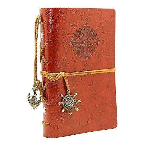 Journal en cuir ordinateur portable, carnet à spirales rechargeable HRYSPN...