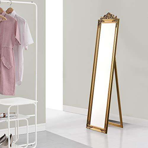 [en.casa] Standspiegel 160x40 cm Ganzkörperspiegel rechteckig Ankleidespiegel kippbar Barock Gold