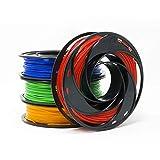 Gizmo Dorks PLA Filament for 3D Printers 1.75mm 200g, 4 Color Pack - Blue, Green, Orange, Red