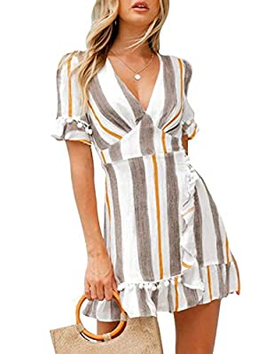 ✿Material:made of comfy and breathable fabric.Soft summer mini dress will make you feel well all the day. ✿Fashion aline short dress:sexy v neck shows your swan neck;cute mini dress;empire waist dress with belted which shows you stunning curves;mini ...