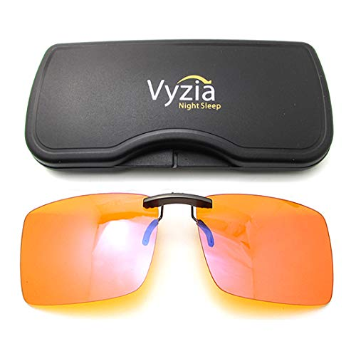 Vyzia Clip On Blue Light Blocking Glasses for Sleep | Fits Over Prescription Glasses, Orange Lenses Help Reduce Computer Eye Strain and Induce Sleep