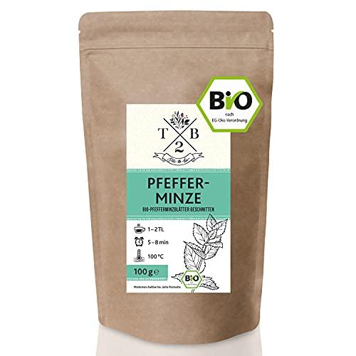 Pfefferminztee BIO-Tee geschnitten in Bio-Qualität mit loser Pfefferminze (Minze, Pepermint, Mentha piperita), 100g   Tea2Be