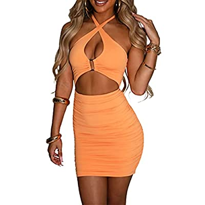 Women High Split Cutout Long Evening Dress One Piece Outfits Side Lace Up Skirt Ruched Bodycon Cut Out Stretch Tight Mini Club Dresses Ribbed Tank Top Summer Hollow Cutout Bag Hip Pencil Dress Twist Wrap Slim Fit Elegant Party Evening Wedding Feature...