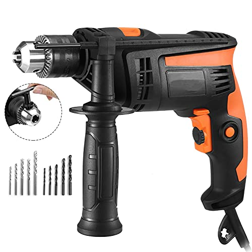 Hammer Drill, 6Amp,2800RPM Corded Drill 1/2 Inch,44800BPM Dual Drill Mode Impact Drill, 6 Variable Speed Trigger with Speed Setting Knob for Wood, Steel, Masonry-PID01A