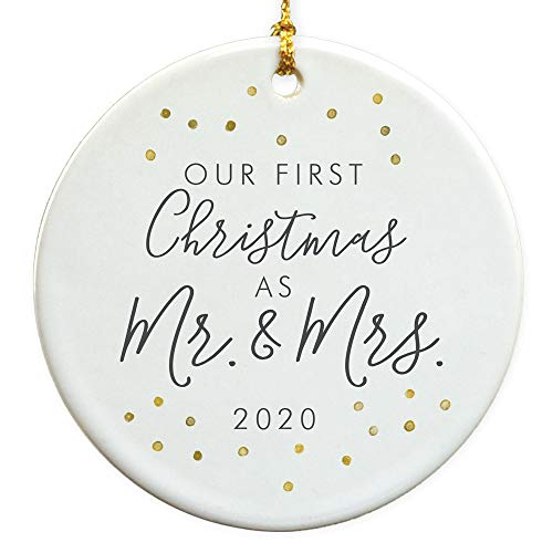 GiftsForYouNow First Christmas As Mr & Mrs 2020 Ceramic Christmas Ornament, Wedding Ornament, Newlywed Gift, Wedding Gift, 2.75 inch Glossy Ceramic Ornament, Gold Ribbon Included
