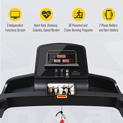 OMA Home Treadmills, Max 2.25 HP Folding Incline Treadmills for Running and Walking Exercise with LED Display of Tracking Heart Rate, Calories - Black 3
