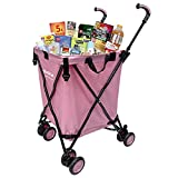 EasyGo Cart Folding Grocery Shopping and Laundry Utility Cart – Removable Water-Resistant Canvas Bag - Front Locking Versa Wheels – Rear Brakes - Easy Folding - 120lbs Capacity – Copyrighted – Pink