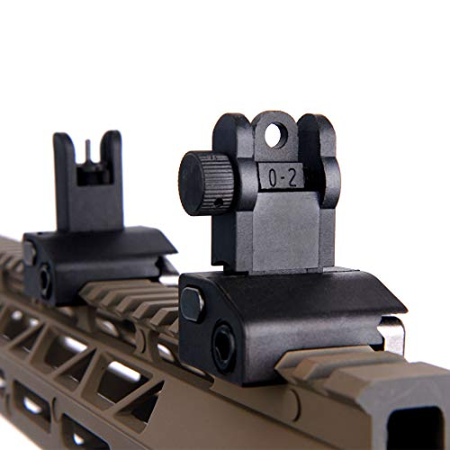 Fidragon Ultralight Flip Up Backup Battle Sight Offset Rapid Transition Front and Backup Rear Sight for Picatinny Mount