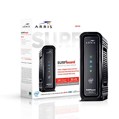 ARRIS SURFboard SB6190 DOCSIS 3.0 Cable Modem, Approved for Cox, Spectrum, Xfinity & others (Black)