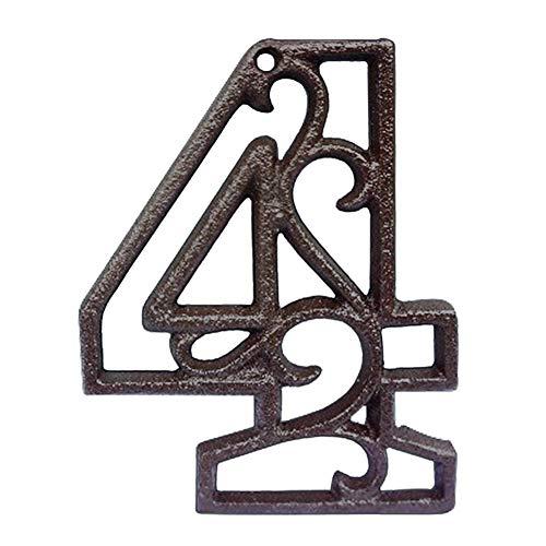 INCREWAY Numeri in ghisa, 10,6 cm intagliati decorativi in ferro da stiro, numeri per posta, per bar, ristorante (4)