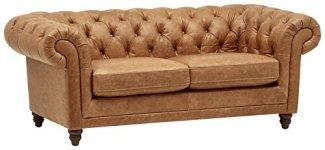 Stone & Beam Bradbury Chesterfield Modern Tufted Leather Loveseat Sofa Couch, 78.7'W, Cognac