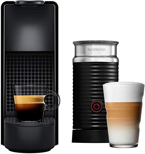 NESPRESSO  Cafetera Essenza Mini con Espumador de leche, Color Negra (Incluye obsequio de 14...