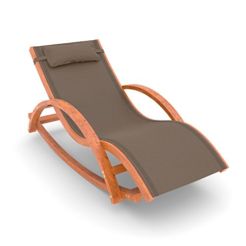 Ampel 24 Relax Schaukelstuhl Rio, Relaxliege mit Armlehnen, Gartenmöbel aus vorbehandeltem Holz, Stuhl Bespannung braun, wetterfeste Gartenliege