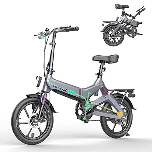 HITWAY Bicicleta eléctrica GEARSTONE, Ligera, 250 W, Plegable, eléctrica, con Asistencia de Pedal, con batería de 7,5 Ah, 16 Pulgadas, para Adolescentes y Adultos (Gris)